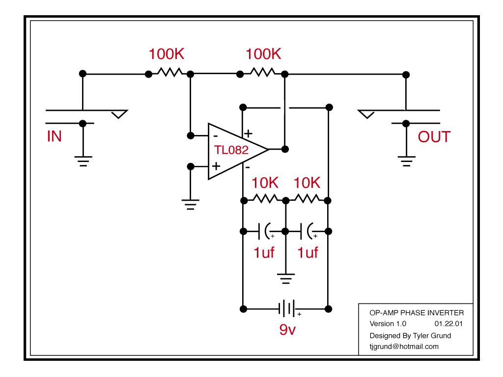 inverting guitar phase with an op-amp